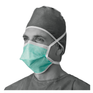 Medline, Chamber Style, Surgical Face Mask with tie, Green